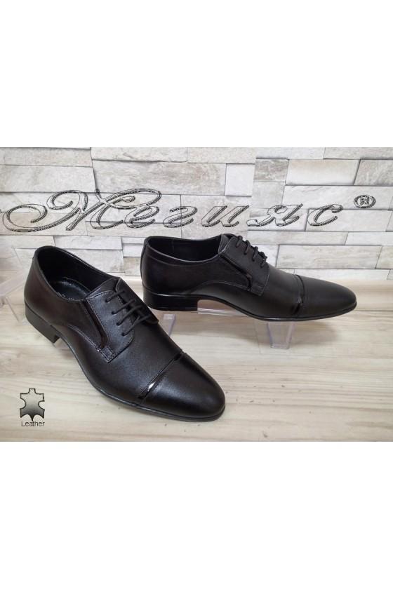 Мъжки/Юношески обувки  черни естествена кожа