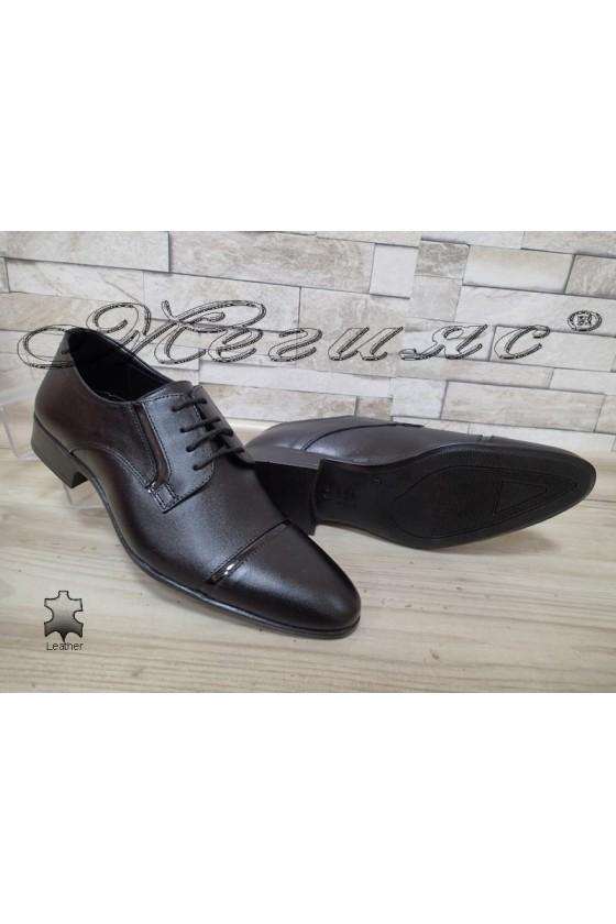 Мъжки/Юношески обувки черни естествена кожа Фантазия 8017
