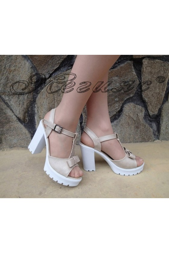 Lady sandals 83 beige pu