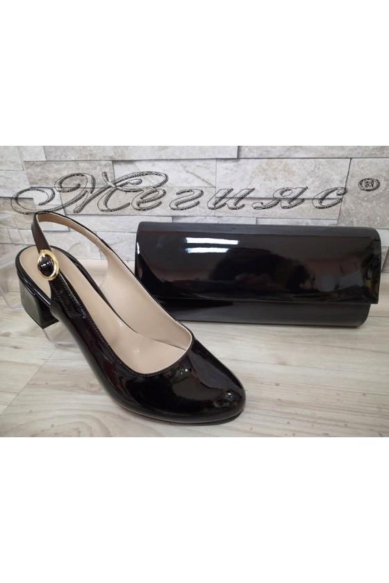 Lady elegant sandals 907 black with middle heel and bag 373