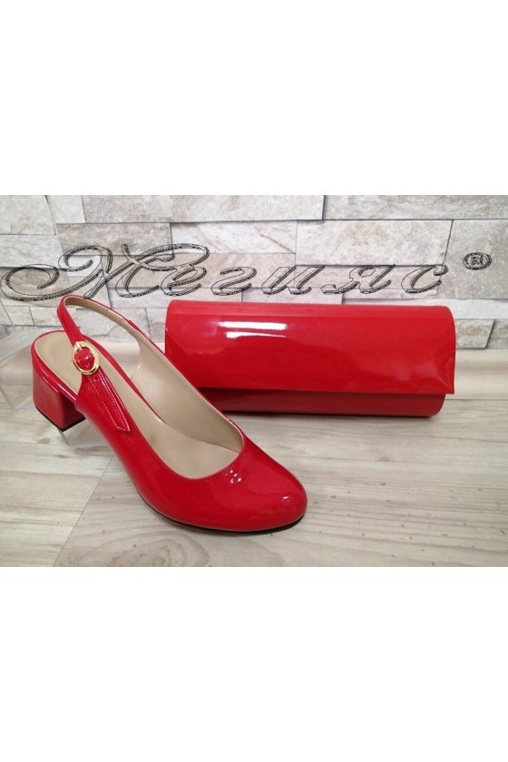 Lady elegant sandals 907 red with middle heel and bag 373