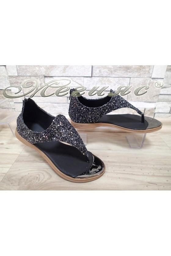 Ladies sandals X-301 black brokat