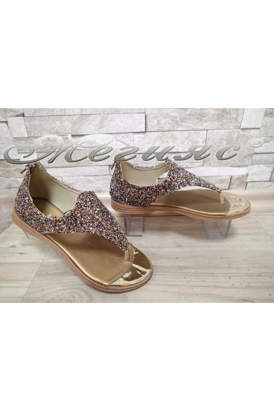 Ladies sandals X-301 gold brokat