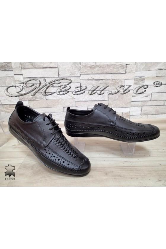 Мъжки обувки АТО 331 черни от естествена кожа