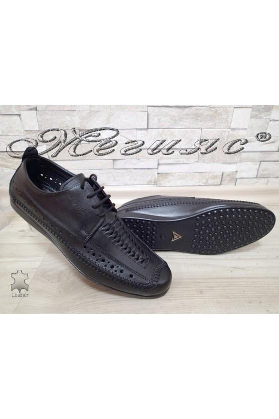 Мъжки обувки А-331 черни от естествена кожа