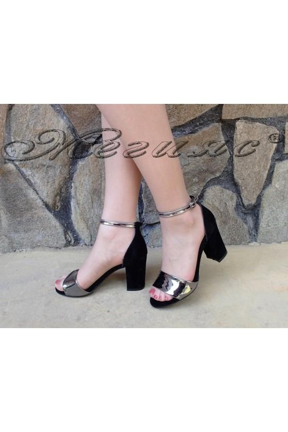 Дамски сандали 504 черни със сребрист лента от еко набук елегантни