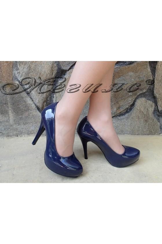 Дамски обувки 500 сини лак елегантни на ток
