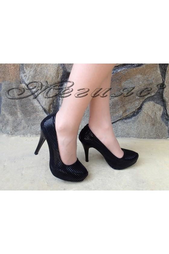 Дамски обувки 500 черни релеф елегантни на ток