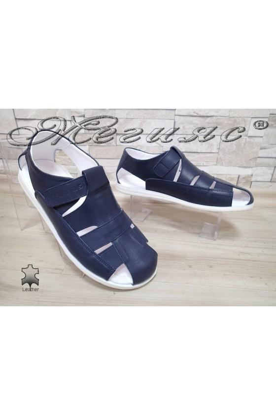 Мъжки сандали Фантазия Т-5 сини от естествена кожа