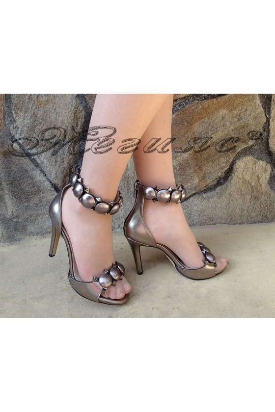 Дамски сандали 353 тъмно сребро  елегантни
