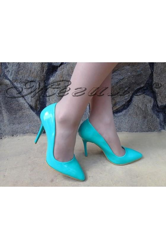 Дамски обувки 5596 цвят мента лак елегантни остри на висок ток