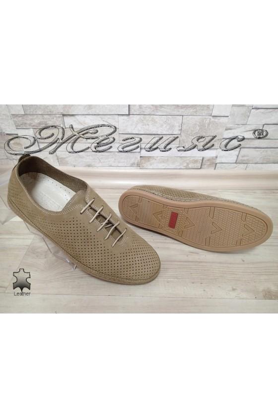 Men's shoes 790 beige suede leather