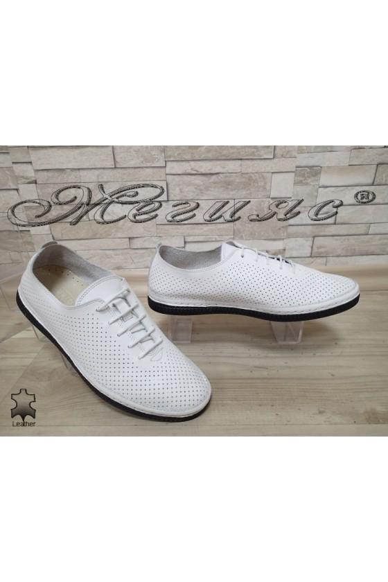 Мъжки обувки Пъфи 790 бели перфорация  от естествена кожа
