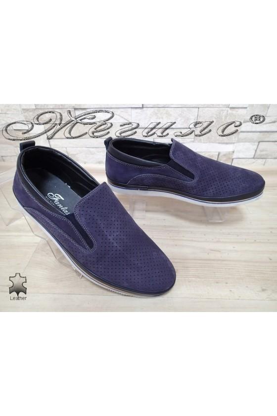 Мъжки обувки Фантазия 05-061 сини от естествен набук