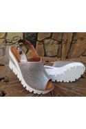Дамски сандали 359-1-134 сребристи с платформа от естетсвена кожа
