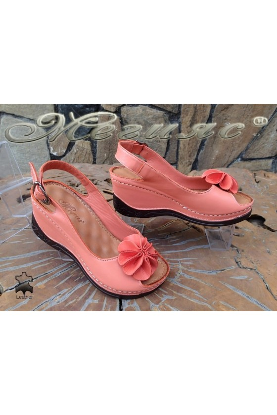 Lady sandals XXL 6-145 coral leather