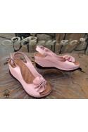 Дамски сандали XXL 71-145 гигант пудра от естествена кожа на платформа