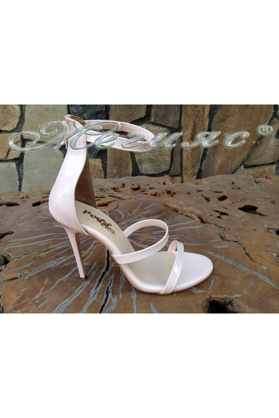 Ladies sandals 6052 powder patent