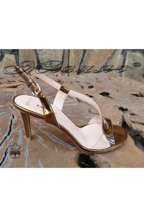 Lady elegant sandals 3218  gold leather