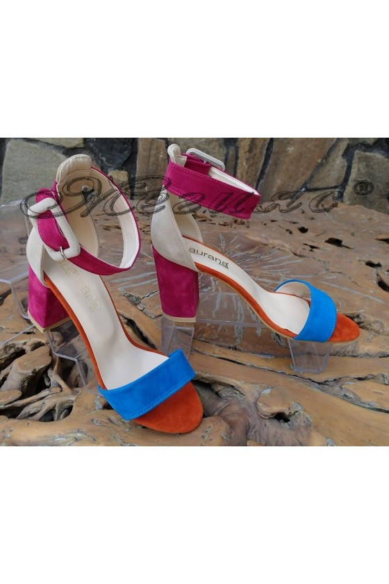 Дамски сандали 6053 синьо+циклама+бежово велур с широк ток