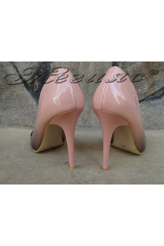 Lady elegant shoes 5596 coral, an eco leather coated lacquer with high heel