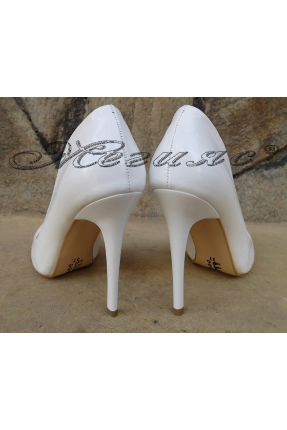 Lady shoes 1800 white, an eco leather coated lacquer with high heel