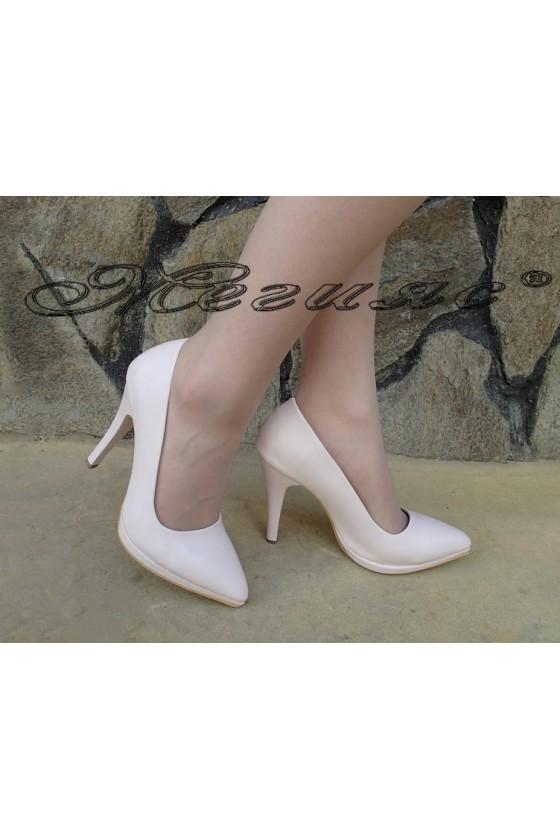 Дамски елегантни обувки 530 пудра еко кожа с висок ток
