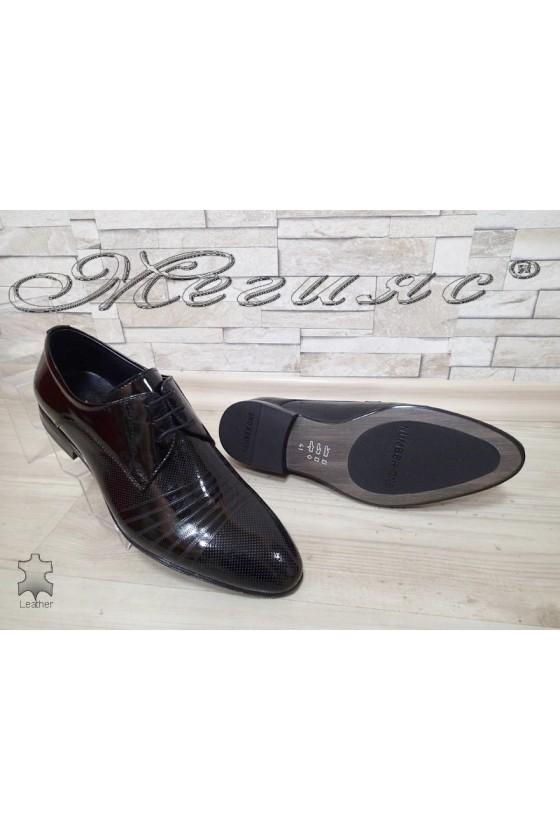 Men's elegant shoes 16393-208 black patent