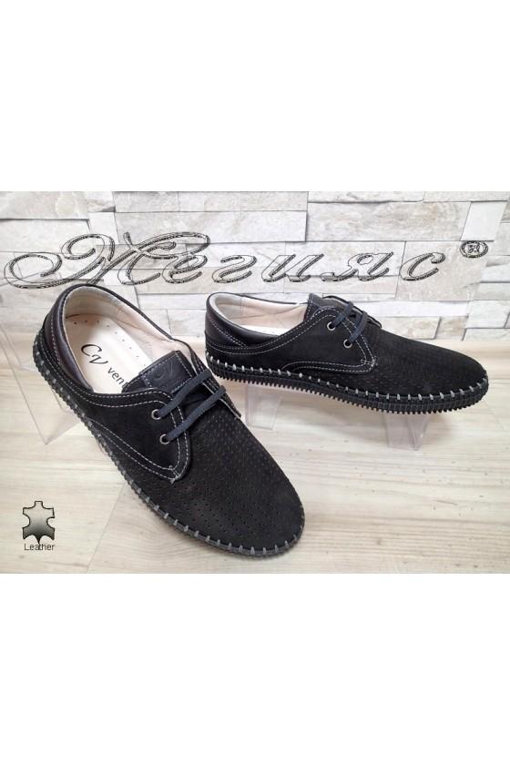Мъжки обувки 15 черни от естествен велур
