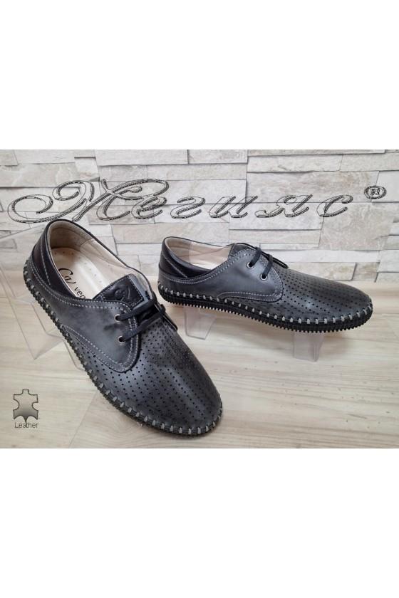Мъжки обувки 15 сиви от естествена кожа