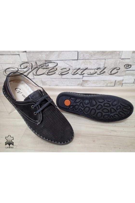 Men's shoes 15 dk.blue suede leather