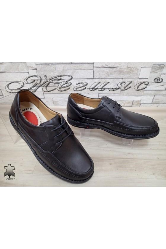 Мъжки обувки XXL 1602 гигант черни от естествена кожа