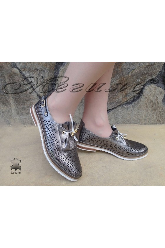Дамски обувки 503-09 тъмно сиви спортни от еко кожа