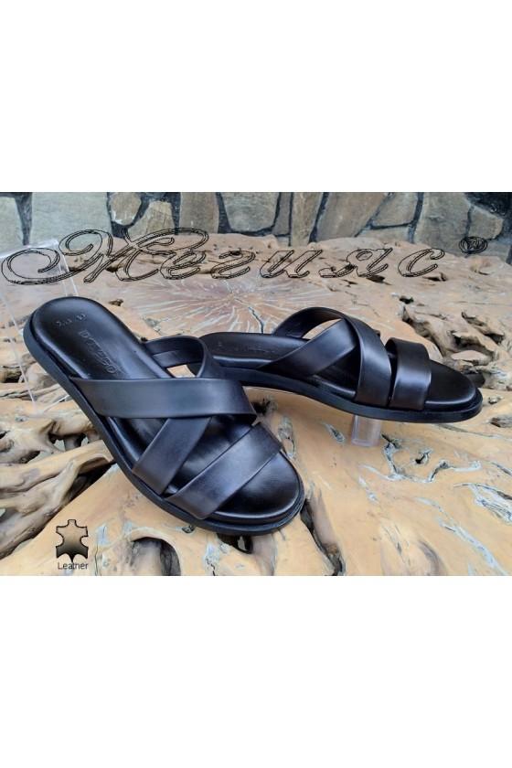 Men's sandals 743-44 black leather