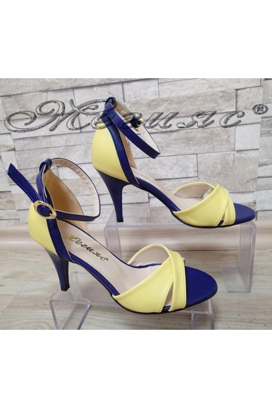 Дамски сандали 138 тъмно синьо/жълто елегантни от еко кожа среден ток