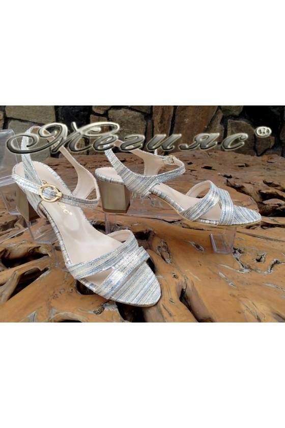 Дамски сандали 1729-203 сини със златисто от текстил със среден ток