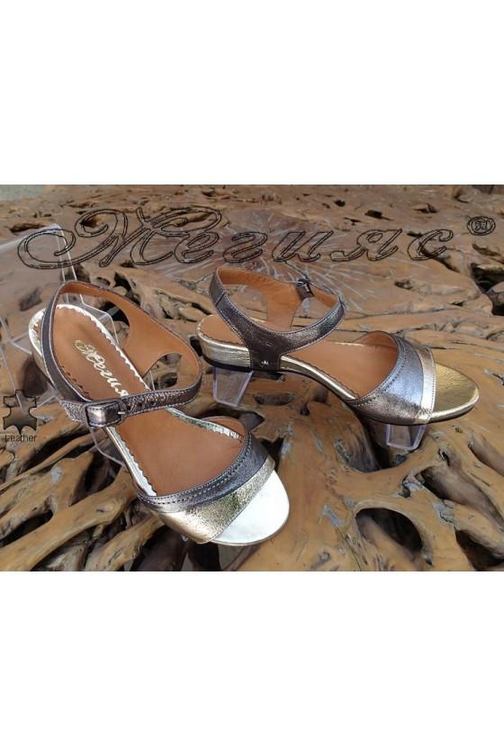 Дамски сандали 300-1413 злато и сребро от естествена кожа ежедневни