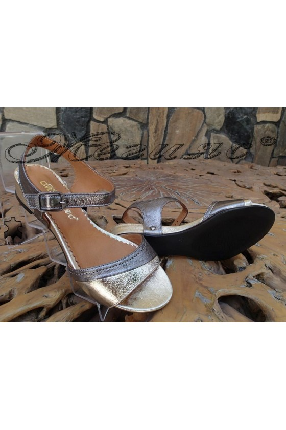 Women sandals 300-1413 silver/gold leather