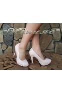 Дамски обувки 500 пудра кожа елегантни на ток