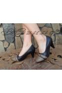 Дамски обувки MIA 155605 черни елегантни среден ток еко кожа