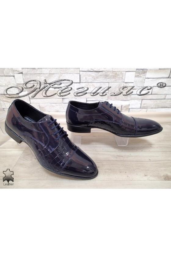 Мъжки обувки 18142-216 тъмно сини от естествена кожа с покритие лак