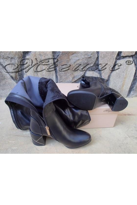 Дамски ботуши черни от еко кожа на широк ток Christine 20w18-329