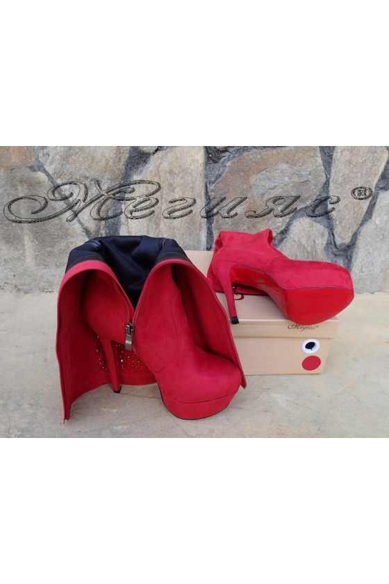 Lady boots Carol W18-2078 red suede