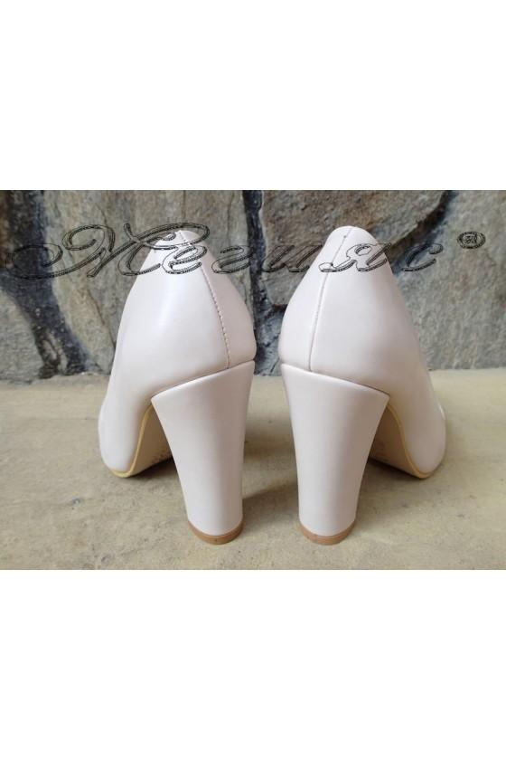 Lady elegant shoes 702 beige pu with high heel