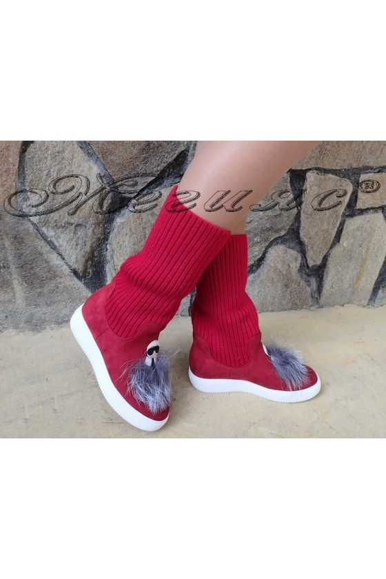 Lady sport boots 20W18-2067 red suede