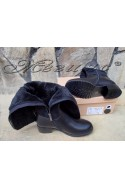 Дамски ботуши Carol W18-2196 черни от еко кожа и велур