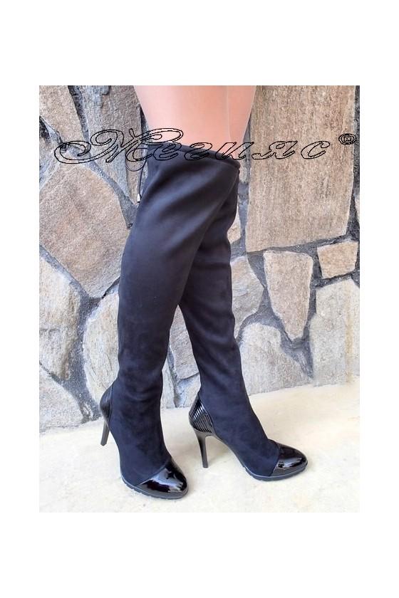 Дамски ботуши Carol W18-2002 черни еко велур на висок тънък ток