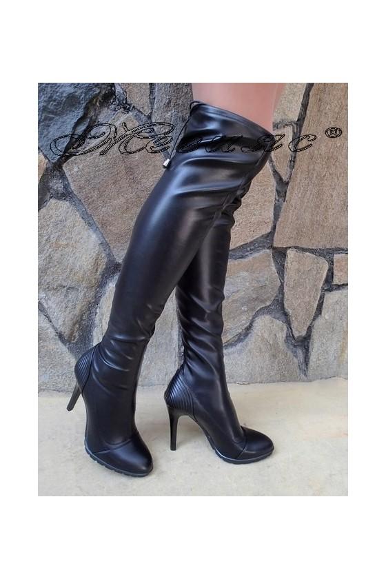 Дамски ботуши Carol W18-2003 черни еко кожа на висок тънък ток