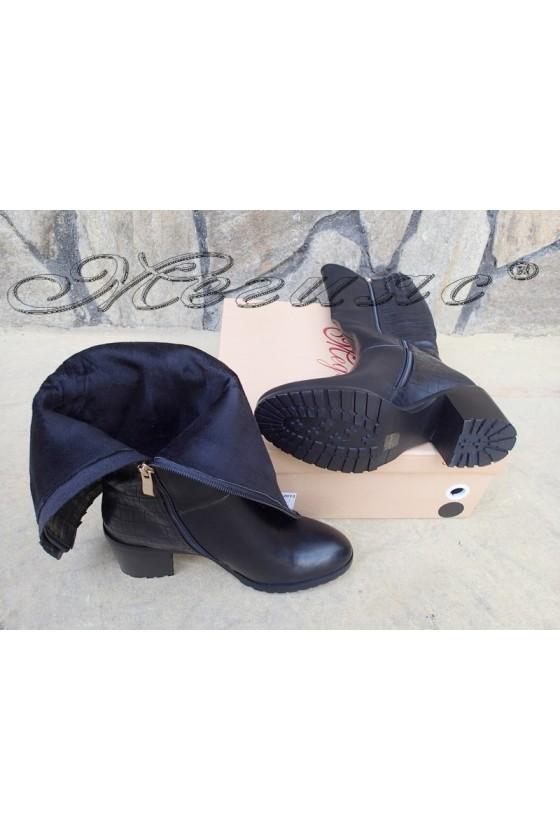 Lady boots Carol 20W18-2013 black pu with high heel