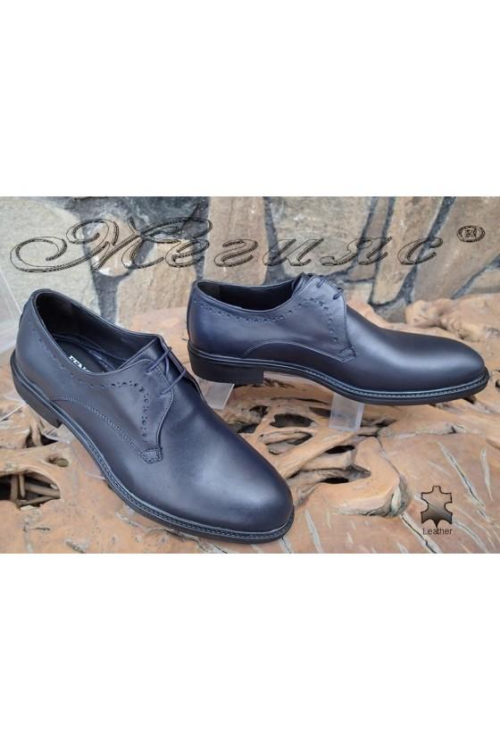 Men's elegant shoes Fenomen 3003 dark blue leather